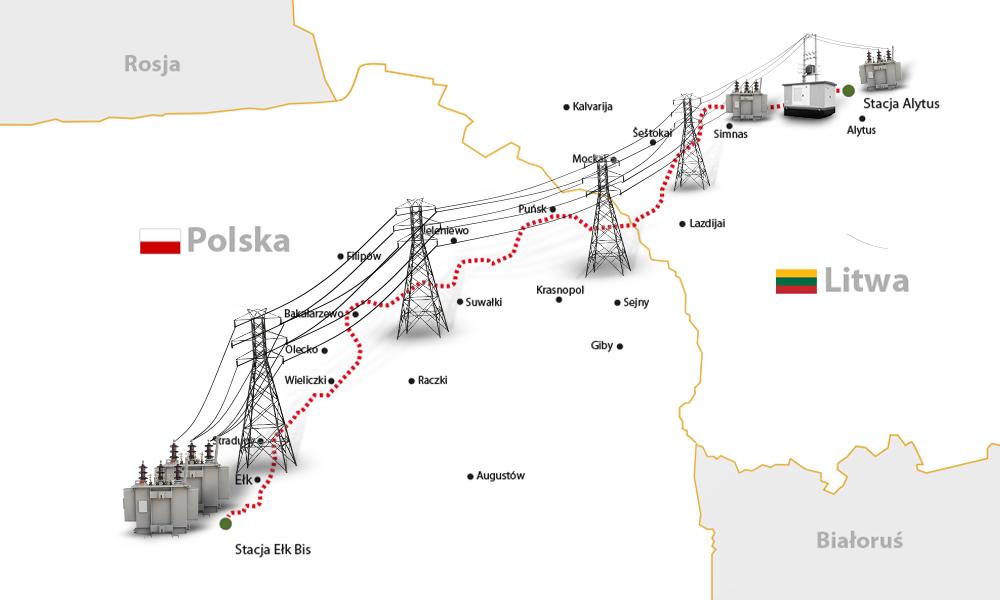 Mapa projektu polsko-litewskiego połączenia elektroenergetycznego.