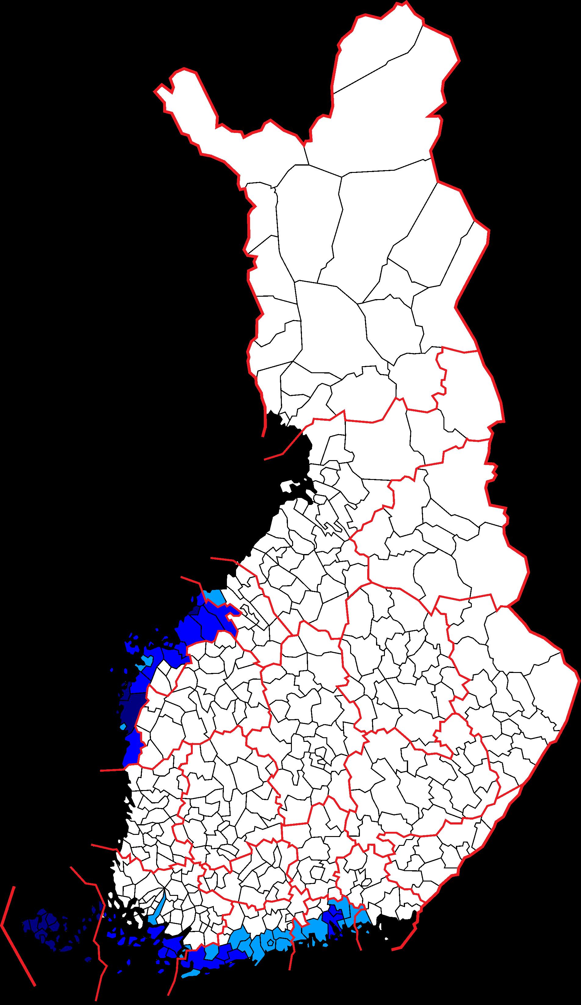 Szwedzkojęzyczne gminy w Finlandii. Mapa: Wikiepdia.