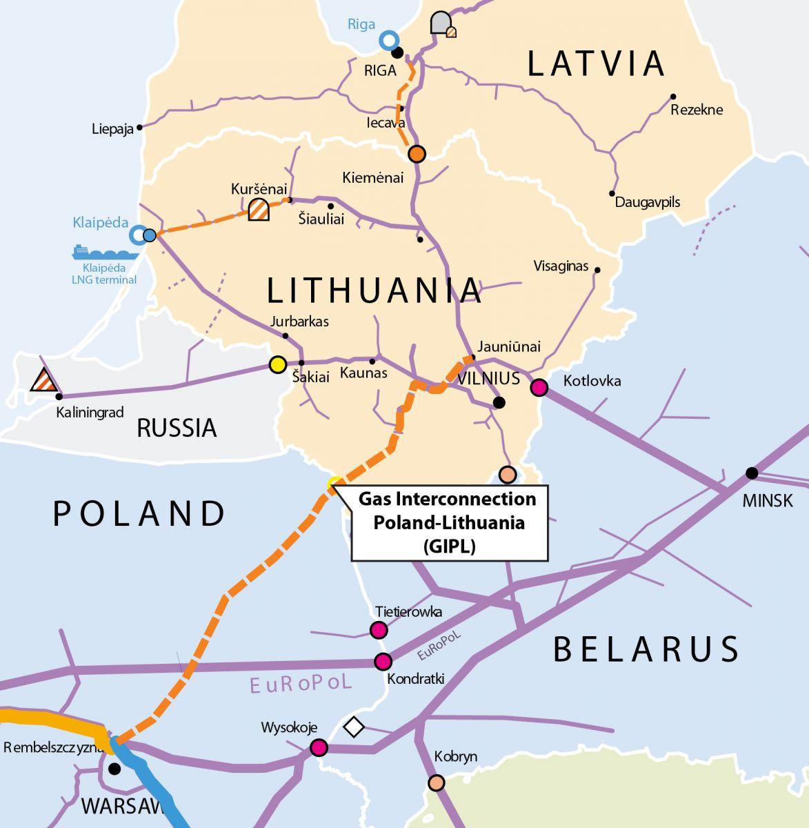 Przebieg gazociągu Polska-Litwa (GIPL)