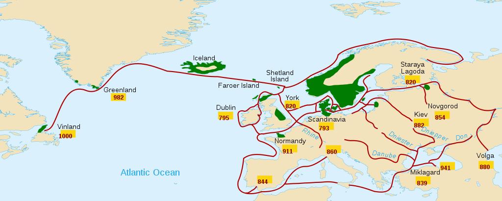 Zasięg ekspansji wikingów. Mapa: Wikimedia / CC