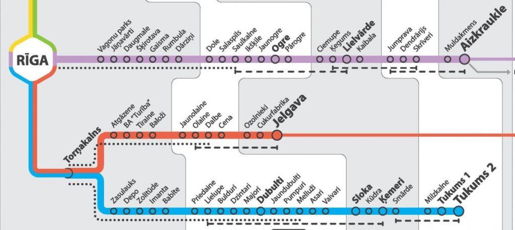 Wycinek mapy połączeń kolejowych z Rygi, 2016