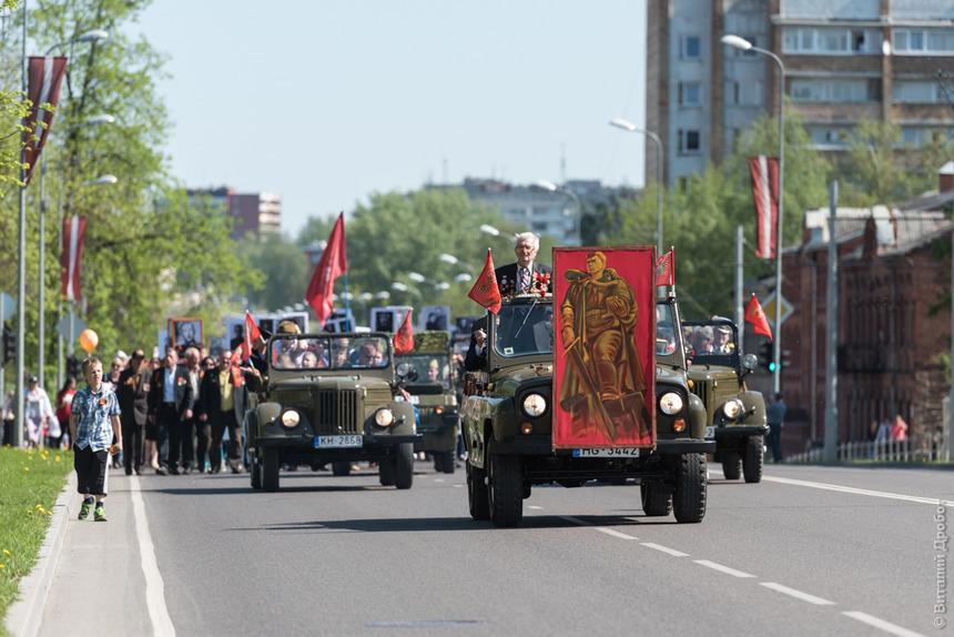 Nieśmiertelny Pułk w Dyneburgu. Zdj. Latvijas Krievu savienība