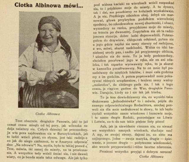 """Niezwykły język """"Ciotki Albinowej"""". Wycinek z publikacji """"Kresowy przegląd radjowy: jednodniówka poświęcona radjofonizacji województw północno-wschodnich: styczeń 1938"""""""