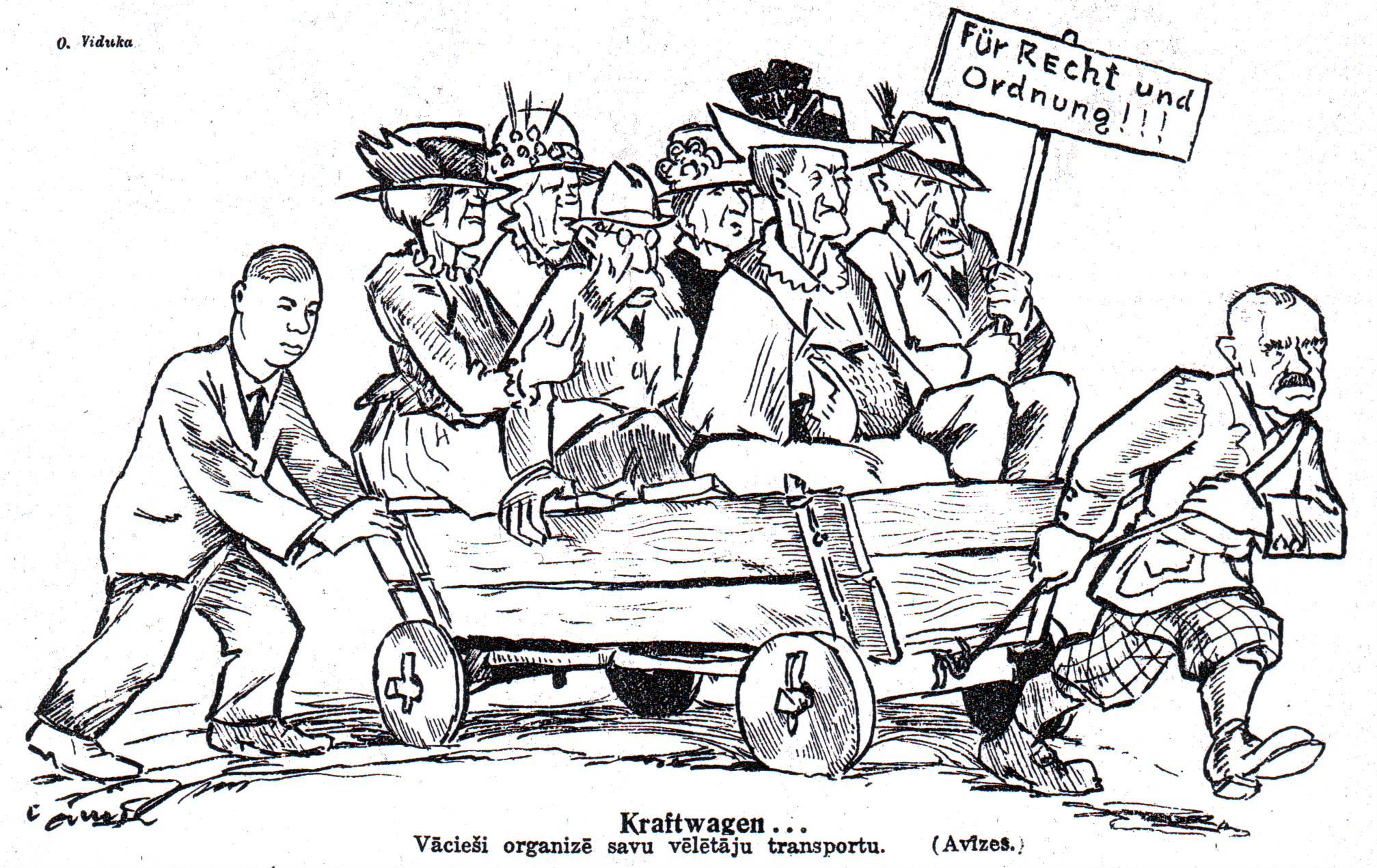 Karykatura niemieckich wyborców na Łotwie