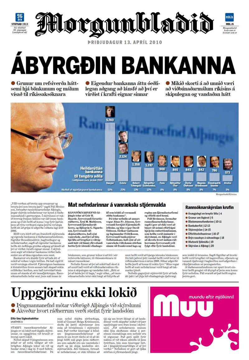 Pierwsza strona jednego z islandzkich dzienników - Morgunblaðið