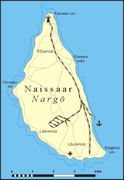 Mapa wyspy Naissaar