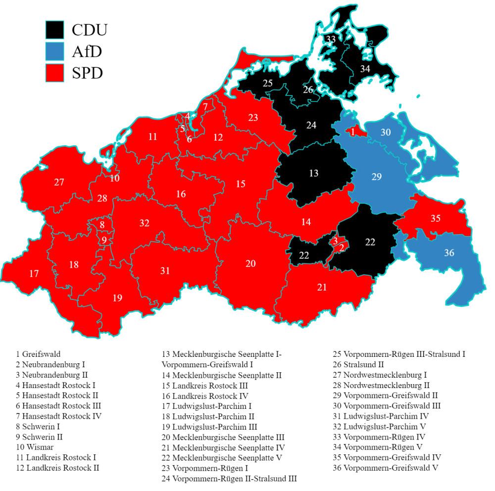 Mapa z podziałem na mandaty bezpośrednie w Meklemburgii-Pomorzu Przednim zdobyte przez SPD, CDU i Alternatywę dla Niemiec (AfD). Źródło: Wikimedia Commons.