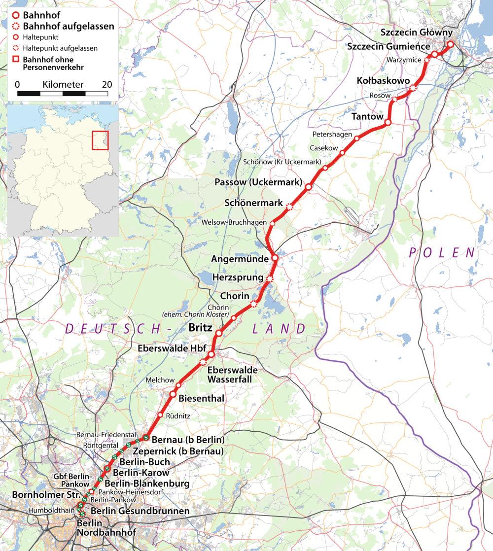 Linia kolejowa Berlin-Szczecin. Zdj. Wikimedia Commons